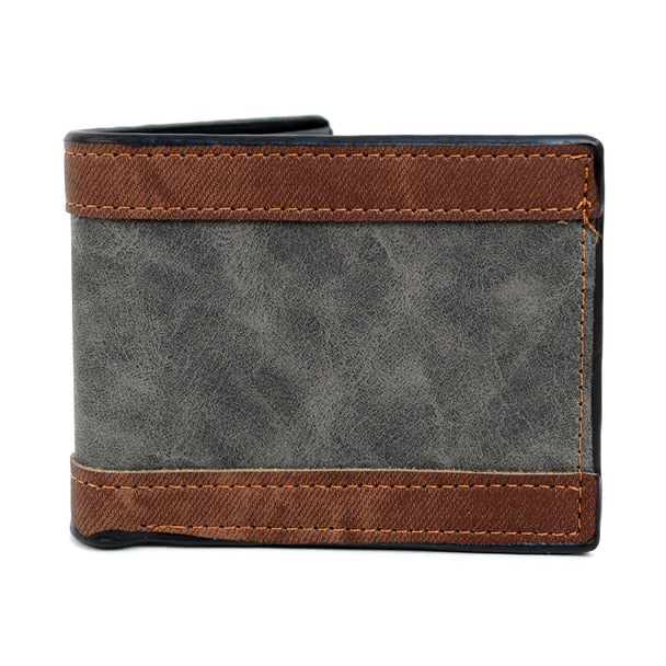 Bi-Fold Leather Striped Wallet-Grey-Daily Steals