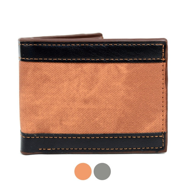 Bi-Fold Leather Striped Wallet-Brown-Daily Steals