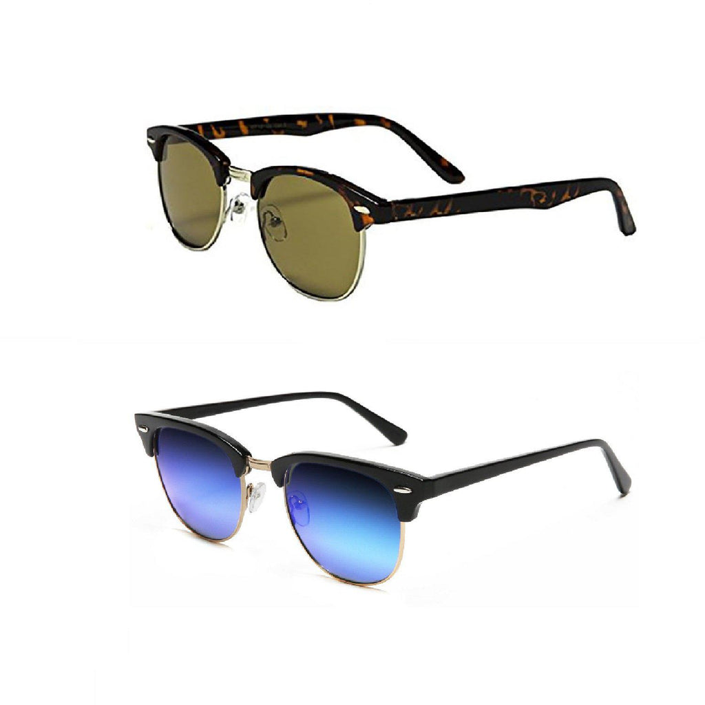[2-Pack] Special Edition Elegant Clubmaster Sunglasses with 2 FREE Microfiber Pouches-1 Tortoise 1 Blue Mirror-Daily Steals