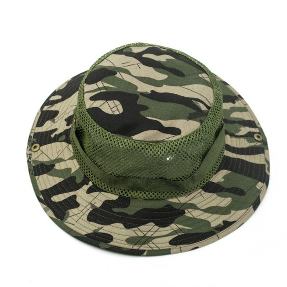 Mesh Camo Wide Full Brim Camouflage Hat Mesh Design - 2 Pack-