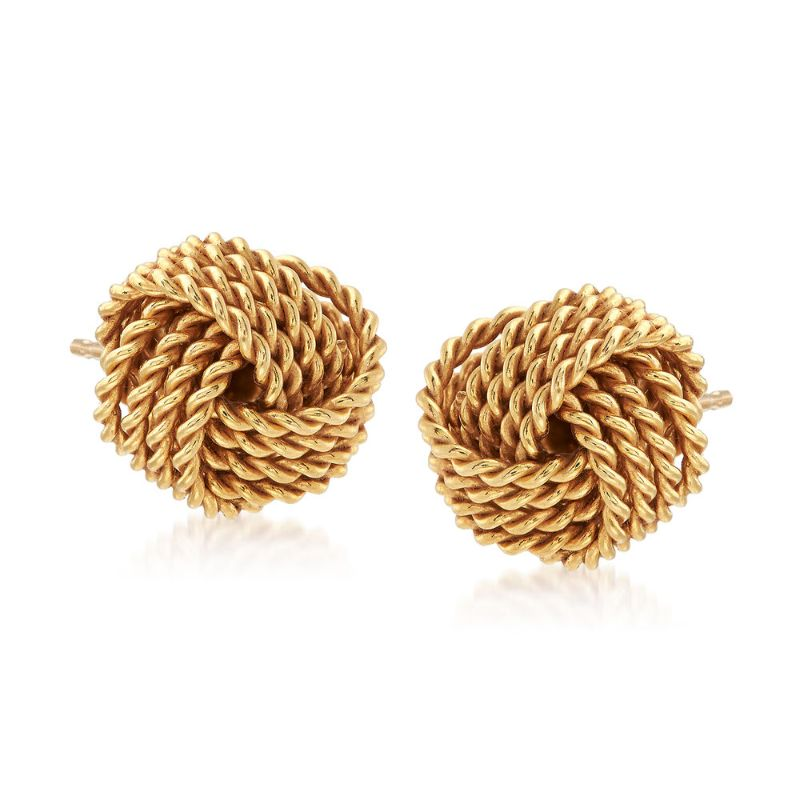Mesh Twist Knot Stud Earrings-Yellow Gold-Daily Steals