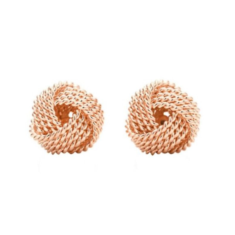 Mesh Twist Knot Stud Earrings-Rose Gold-Daily Steals