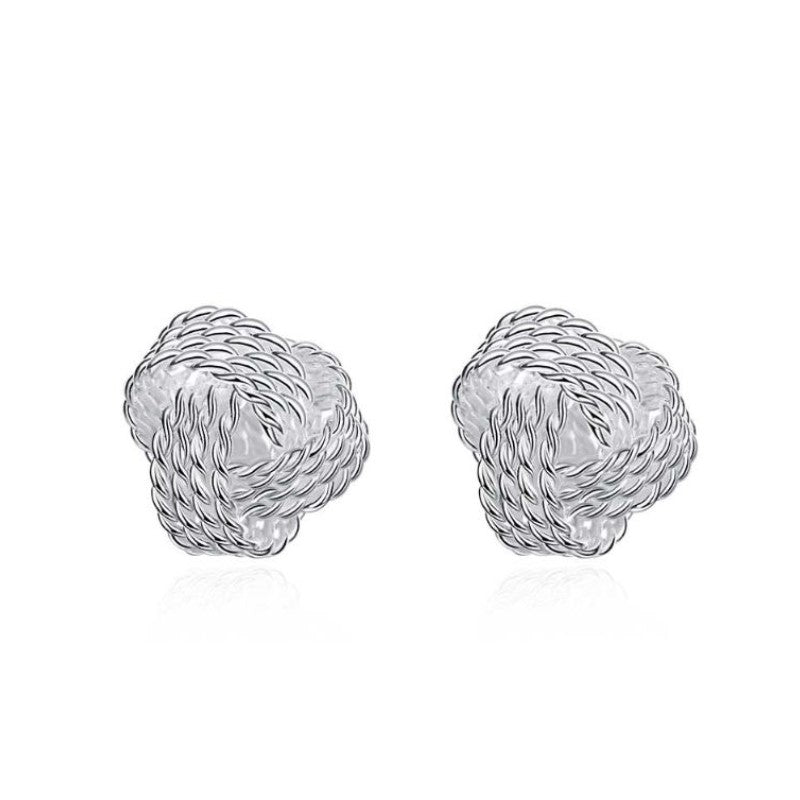 Mesh Twist Knot Stud Earrings-Silver-Daily Steals