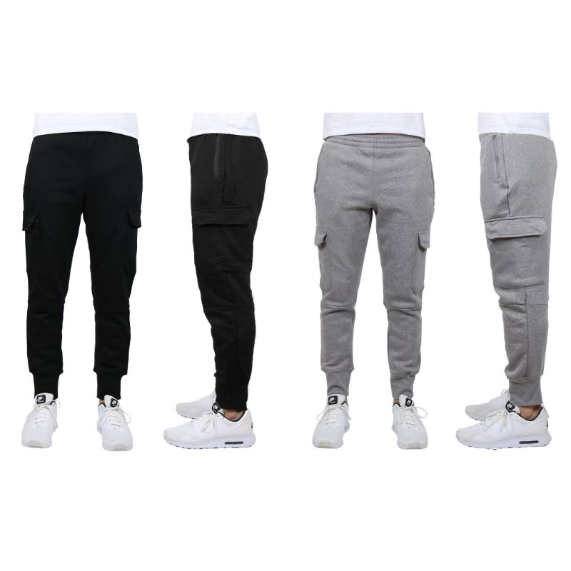 Men's Heavyweight Cargo Fleece Jogger Sweatpants - 2 Pack-Black & Charcoal-Large-Daily Steals