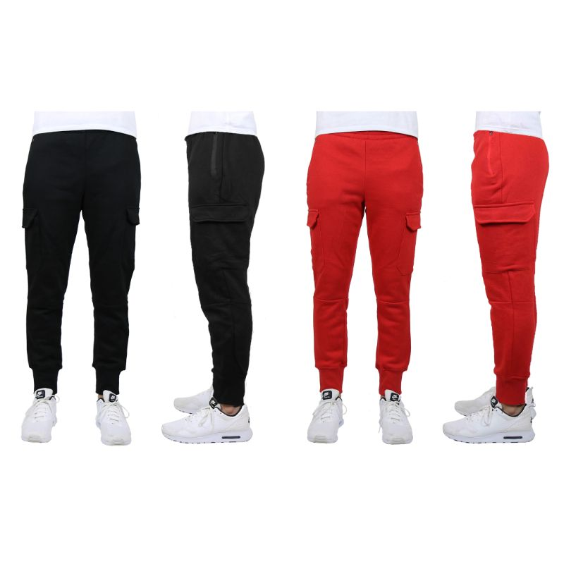 Men's Heavyweight Cargo Fleece Jogger Sweatpants - 2 Pack-Black & Red-X-Large-Daily Steals