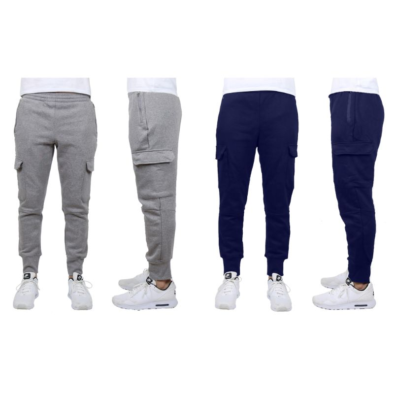 Men's Heavyweight Cargo Fleece Jogger Sweatpants - 2 Pack-Charcoal & Navy-Large-Daily Steals