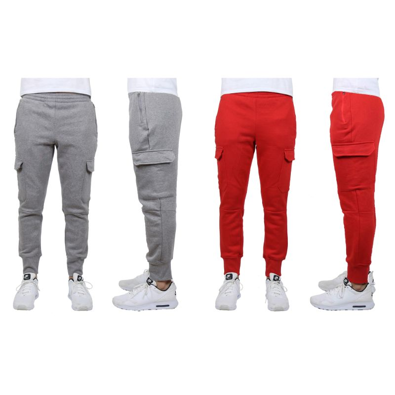 Men's Heavyweight Cargo Fleece Jogger Sweatpants - 2 Pack-Charcoal & Red-Medium-Daily Steals