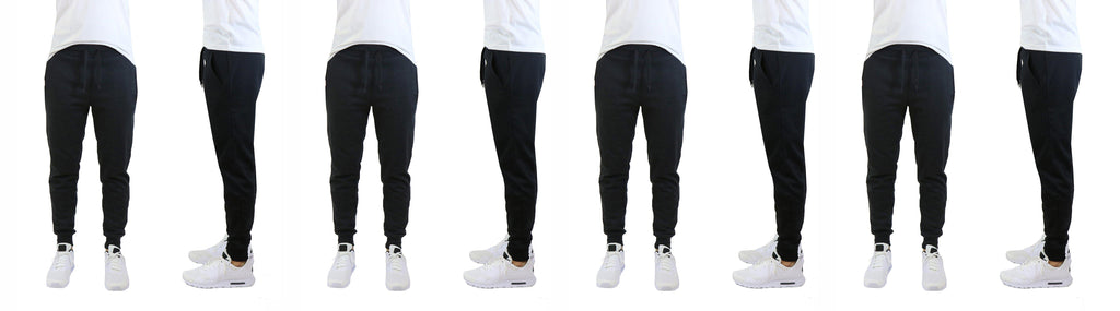 Daily Steals-[4-Pack] Men's Fleece Jogger Sweatpants with Slim Fit Design-Men's Apparel-Black-S-