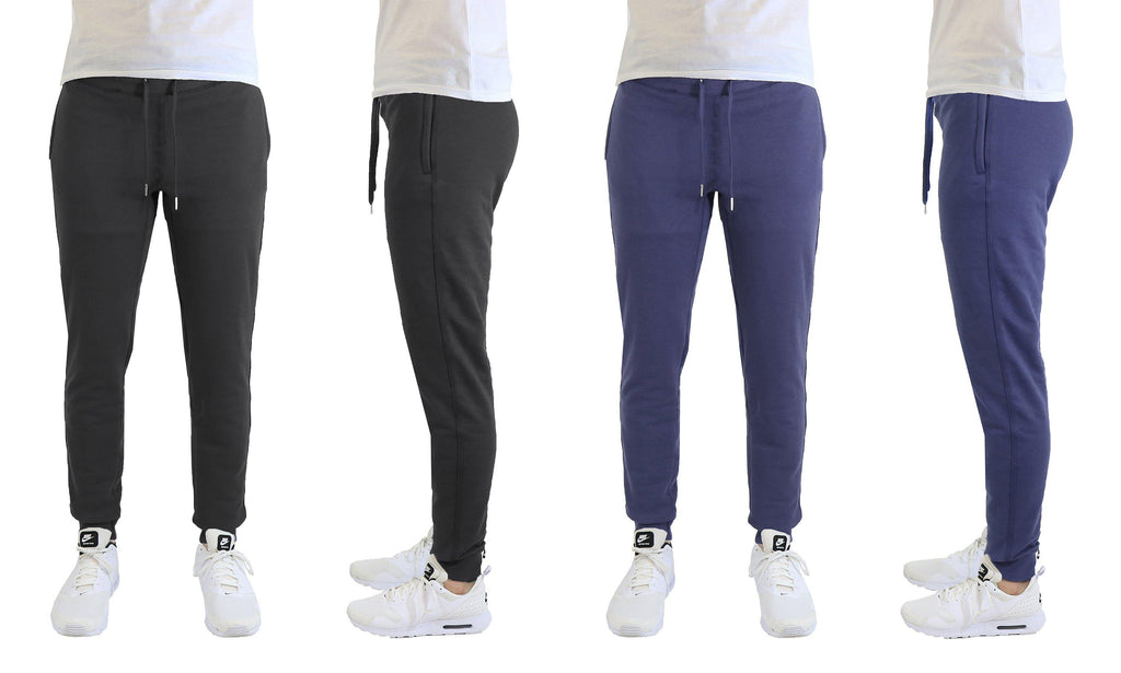 [2-Pack] Mens Soft Touch Slim Fit Joggers with Zipper Pockets-Black-Navy-Small-Daily Steals
