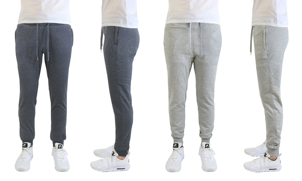 [2-Pack] Mens Soft Touch Slim Fit Joggers with Zipper Pockets-Charcoal-Heather Grey-Small-Daily Steals