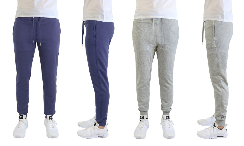 [2-Pack] Mens Soft Touch Slim Fit Joggers with Zipper Pockets-Navy-Heather Grey-Small-Daily Steals