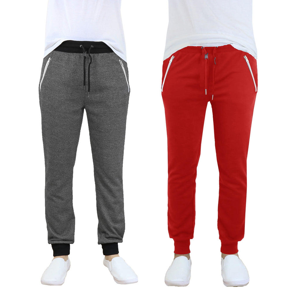 Daily Steals-Men's French Terry Jogger Sweatpants with Zipper Pockets - 2 Pack-Men's Apparel-Charcoal - Red-S-