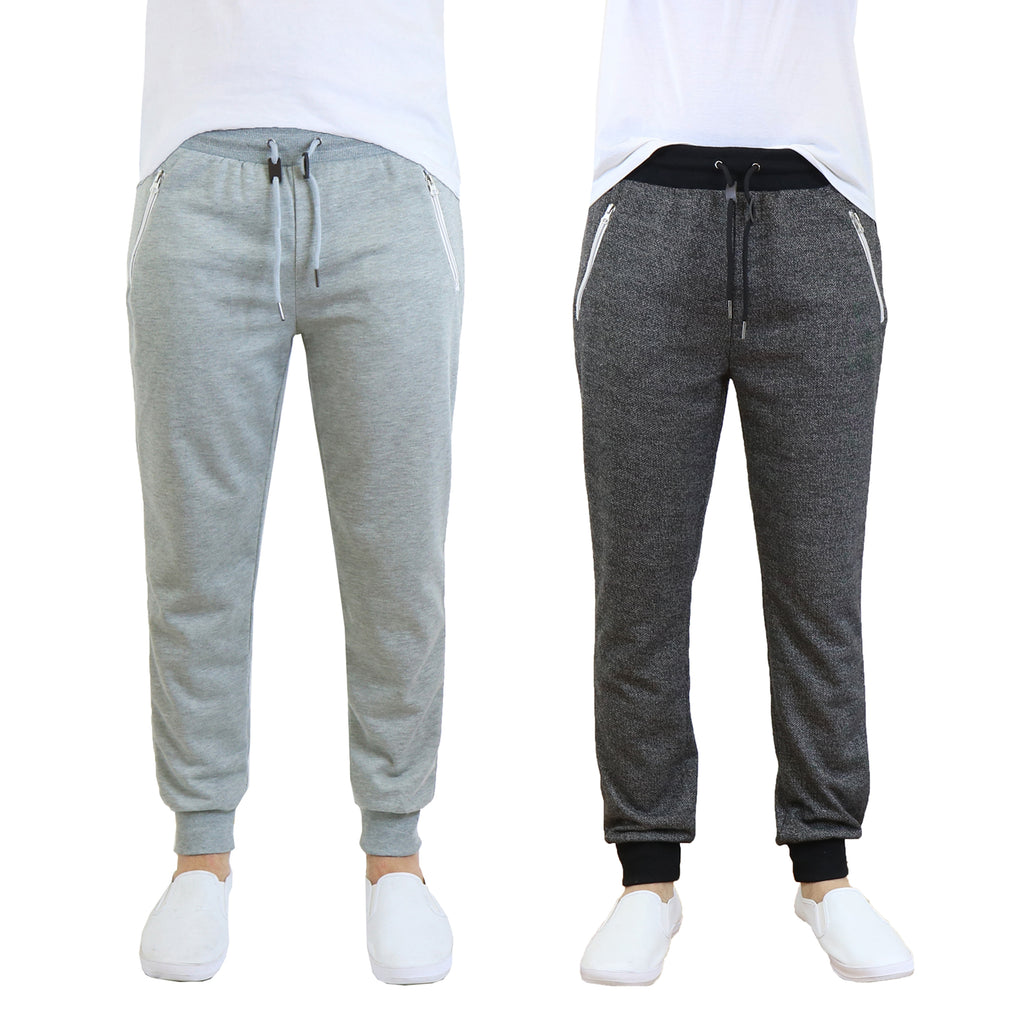 Daily Steals-Men's French Terry Jogger Sweatpants with Zipper Pockets - 2 Pack-Men's Apparel-Grey - Heather Black-S-