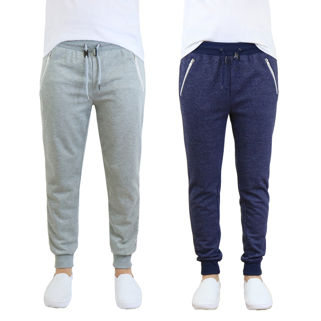Daily Steals-Men's French Terry Jogger Sweatpants with Zipper Pockets - 2 Pack-Men's Apparel-Grey - Heather Navy-S-