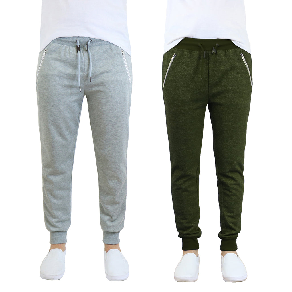 Daily Steals-Men's French Terry Jogger Sweatpants with Zipper Pockets - 2 Pack-Men's Apparel-Grey - Olive-S-