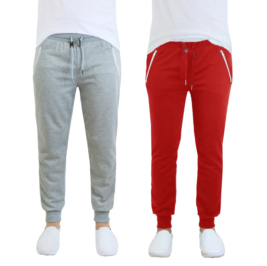Men's French Terry Jogger Sweatpants with Zipper Pockets - 2 Pack