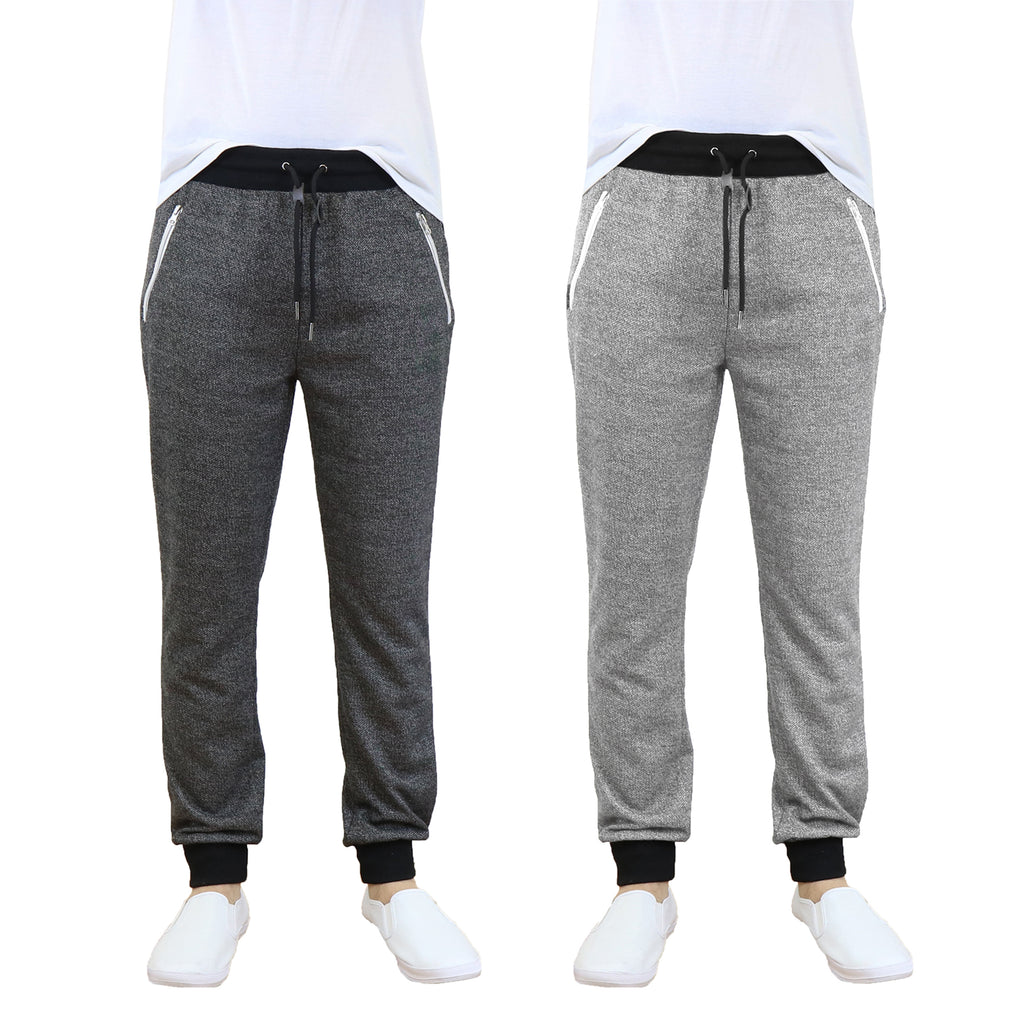 Daily Steals-Men's French Terry Jogger Sweatpants with Zipper Pockets - 2 Pack-Men's Apparel-Heather Black - Heather Grey-S-
