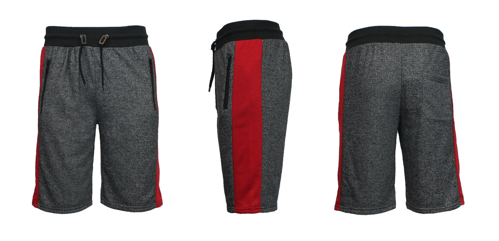 Men's French Terry Shorts with Zippered Pockets and Contrast Trim-Black/Red-S-Daily Steals
