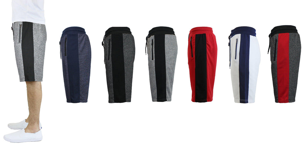 Men's French Terry Shorts with Zippered Pockets and Contrast Trim-Daily Steals