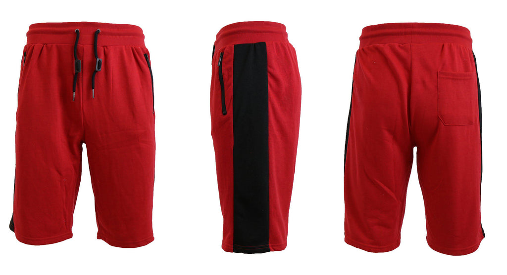 Men's French Terry Shorts with Zippered Pockets and Contrast Trim-Red/Black-S-Daily Steals