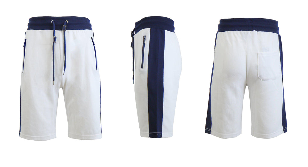 Men's French Terry Shorts with Zippered Pockets and Contrast Trim-White/Navy-S-Daily Steals