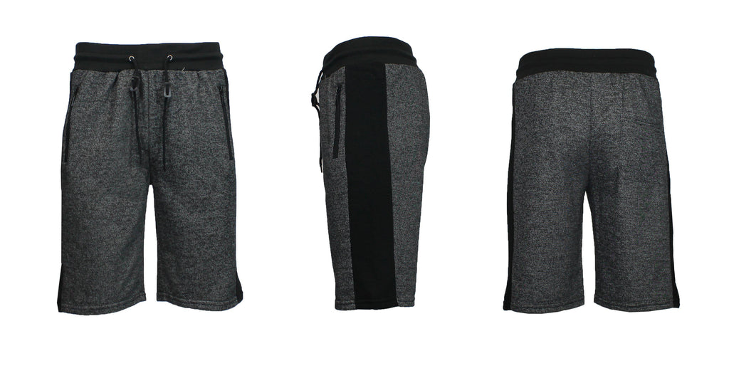 Men's French Terry Shorts with Zippered Pockets and Contrast Trim-Heather Black/Black-S-Daily Steals