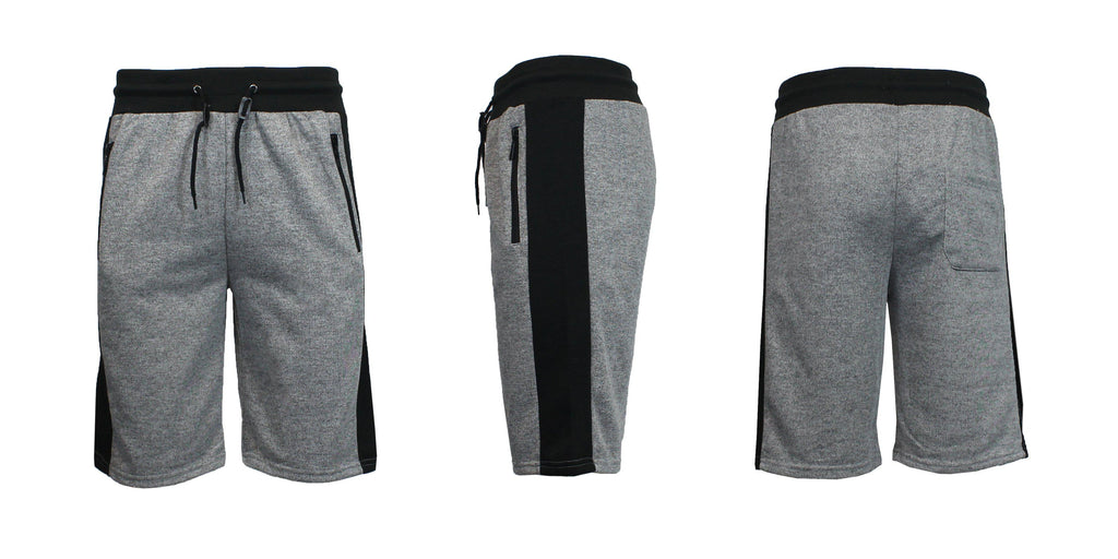 Men's French Terry Shorts with Zippered Pockets and Contrast Trim-Heather Grey/Black-S-Daily Steals