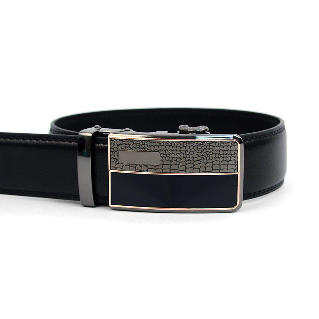 Men's Genuine Leather Sliding Buckle Ratchet- Spikes Style-Black-Daily Steals