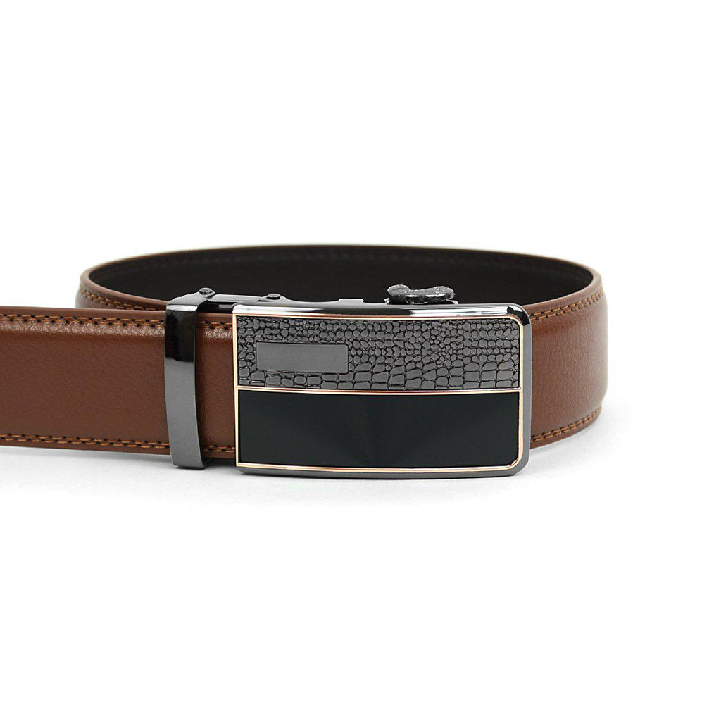 Men's Genuine Leather Sliding Buckle Ratchet- Spikes Style-Brown-Daily Steals