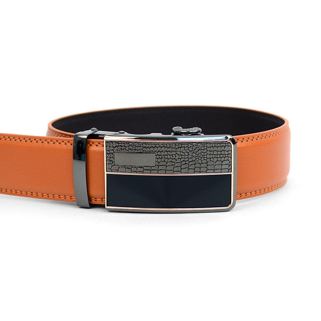Men's Genuine Leather Sliding Buckle Ratchet- Spikes Style-Orange-Daily Steals