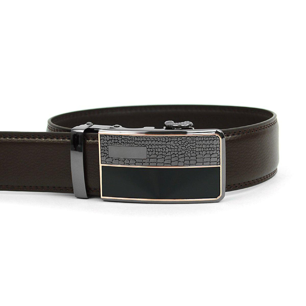 Men's Genuine Leather Sliding Buckle Ratchet- Spikes Style-Dark Brown-Daily Steals