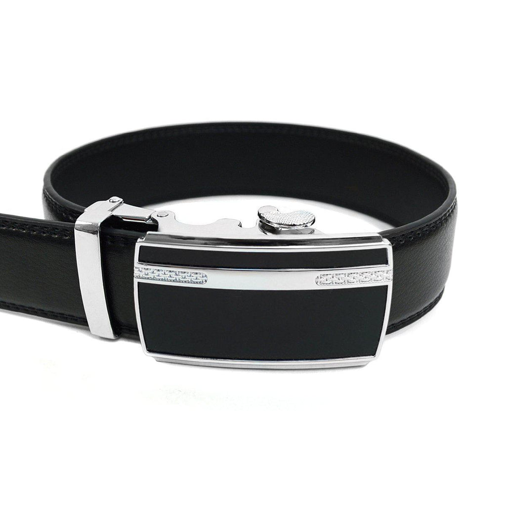 Men's Genuine Leather Sliding Buckle Ratchet- Sparked Style-Black-Daily Steals