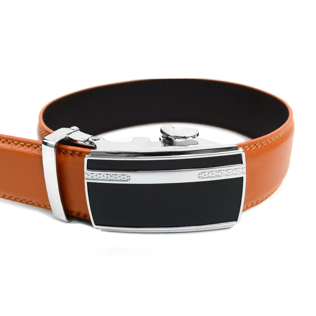 Men's Genuine Leather Sliding Buckle Ratchet- Sparked Style-Orange-Daily Steals