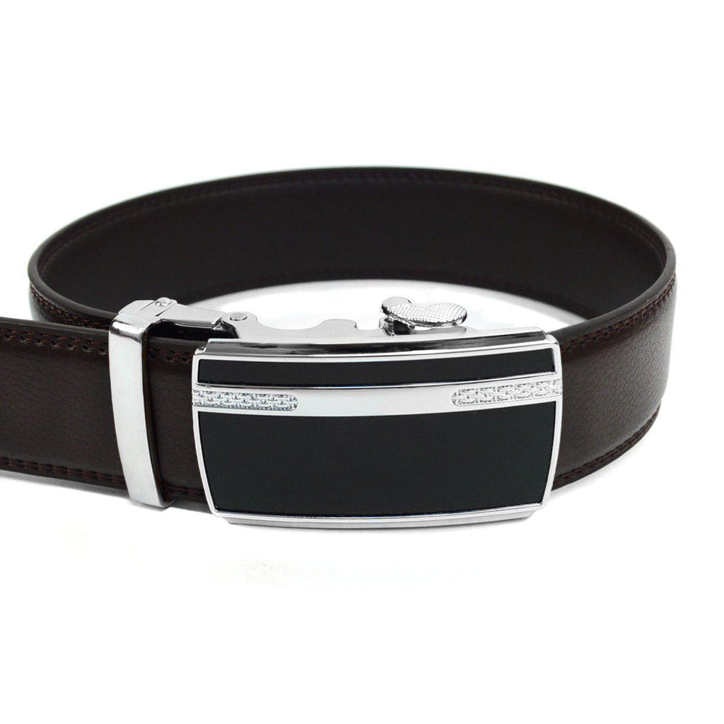 Men's Genuine Leather Sliding Buckle Ratchet- Sparked Style-Dark Brown-Daily Steals