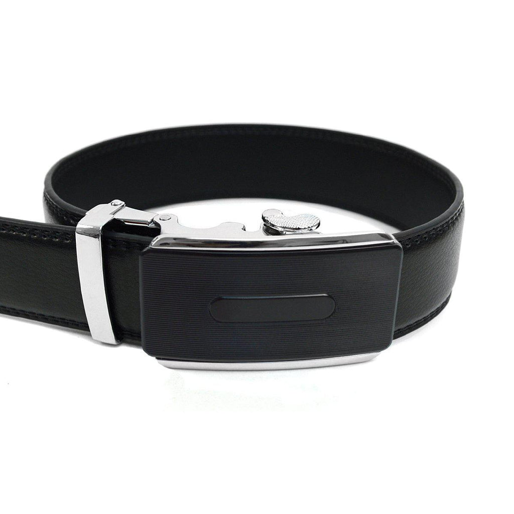 Men's Genuine Leather Sliding Buckle Ratchet- Buckled Style-Black-Daily Steals