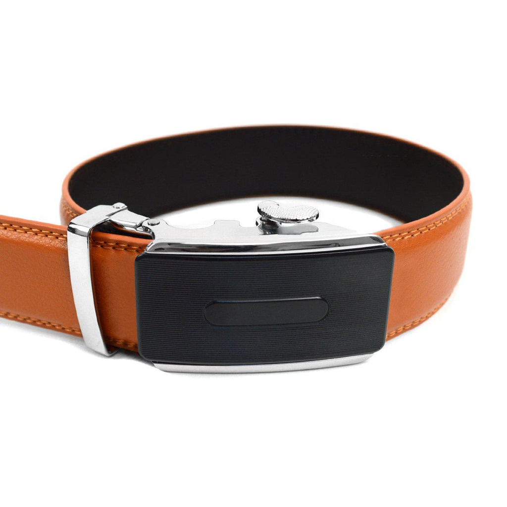 Men's Genuine Leather Sliding Buckle Ratchet- Buckled Style-Orange-Daily Steals