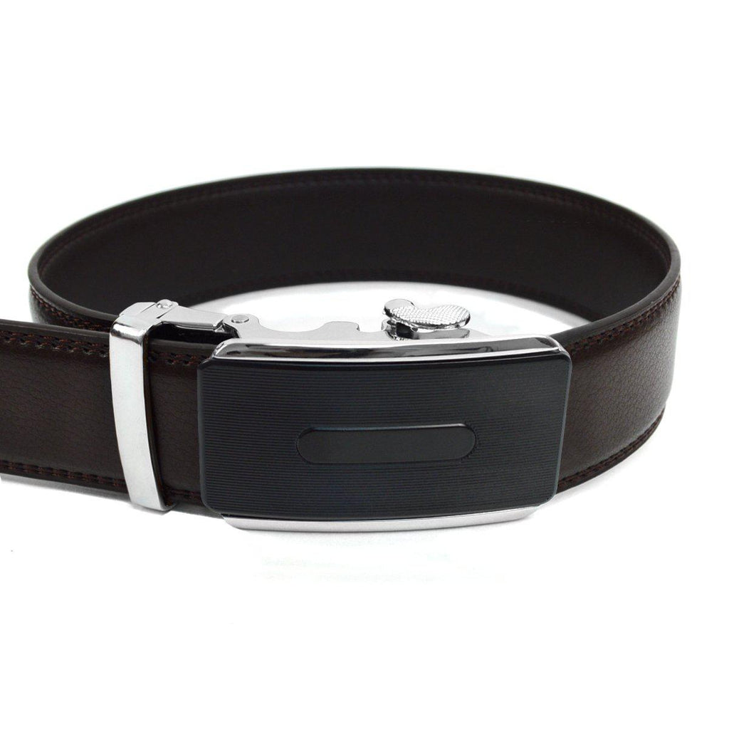 Men's Genuine Leather Sliding Buckle Ratchet- Buckled Style-Dark Brown-Daily Steals