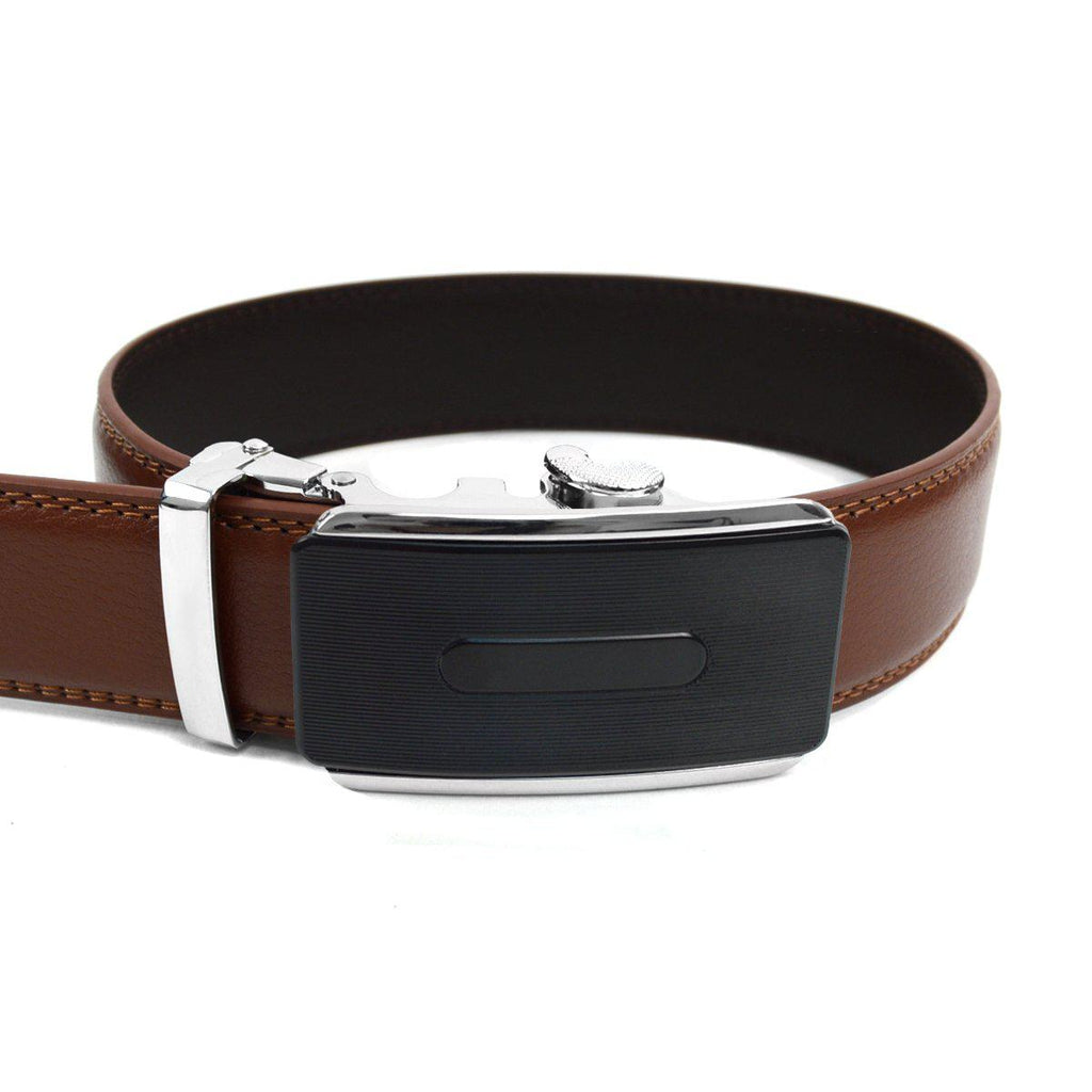 Men's Genuine Leather Sliding Buckle Ratchet- Buckled Style-Brown-Daily Steals