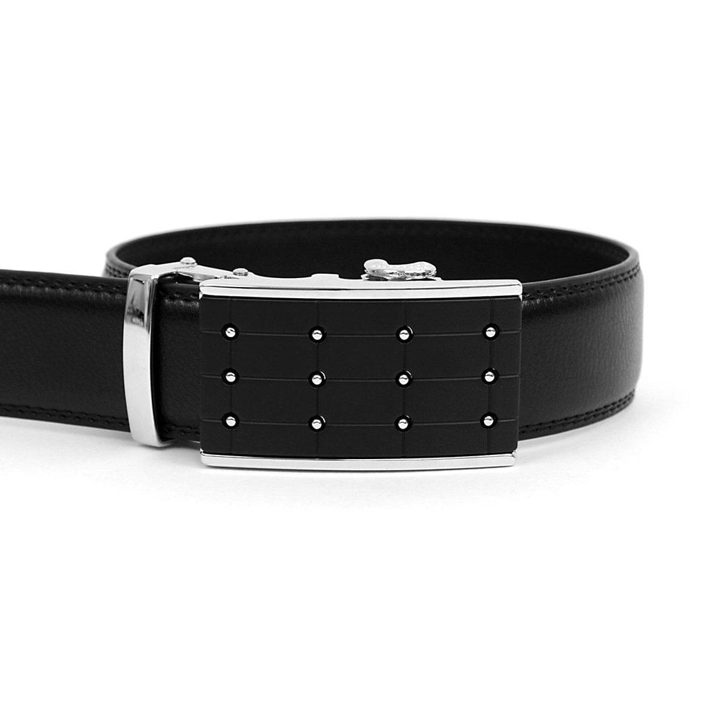 Men's Genuine Leather Sliding Buckle Ratchet- Popular Style-Black-Daily Steals