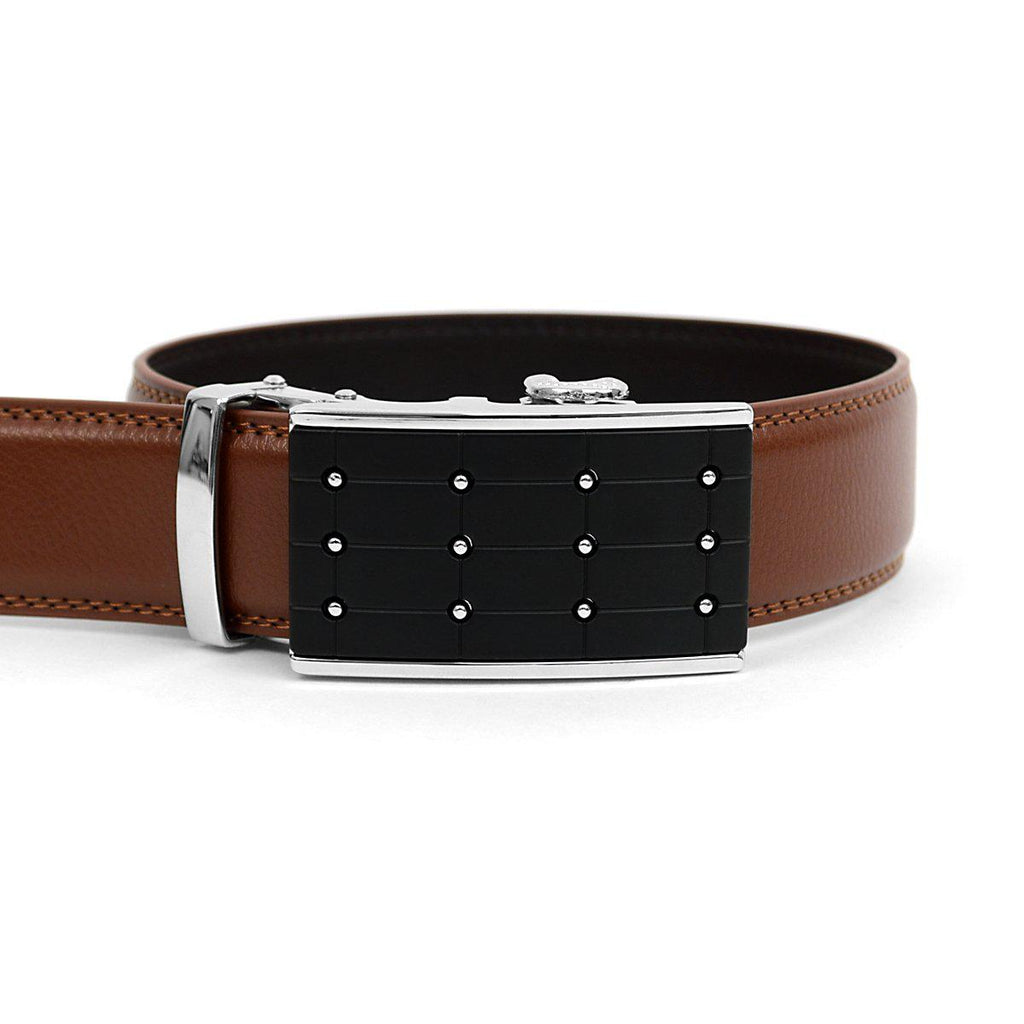 Men's Genuine Leather Sliding Buckle Ratchet- Popular Style-Brown-Daily Steals