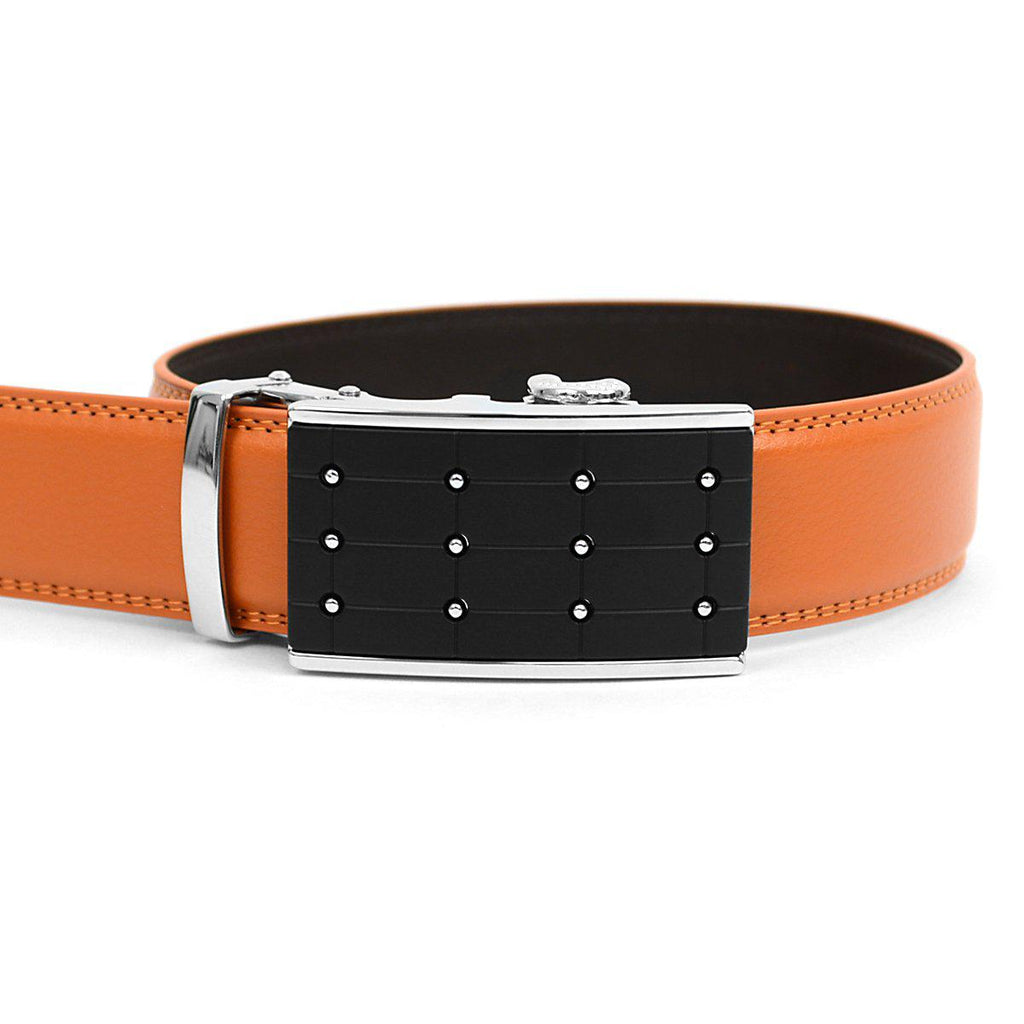 Men's Genuine Leather Sliding Buckle Ratchet- Popular Style-Orange-Daily Steals