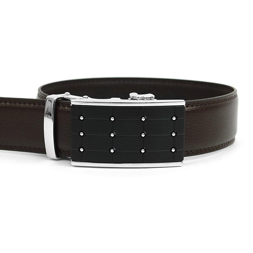 Men's Genuine Leather Sliding Buckle Ratchet- Popular Style-Dark Brown-Daily Steals