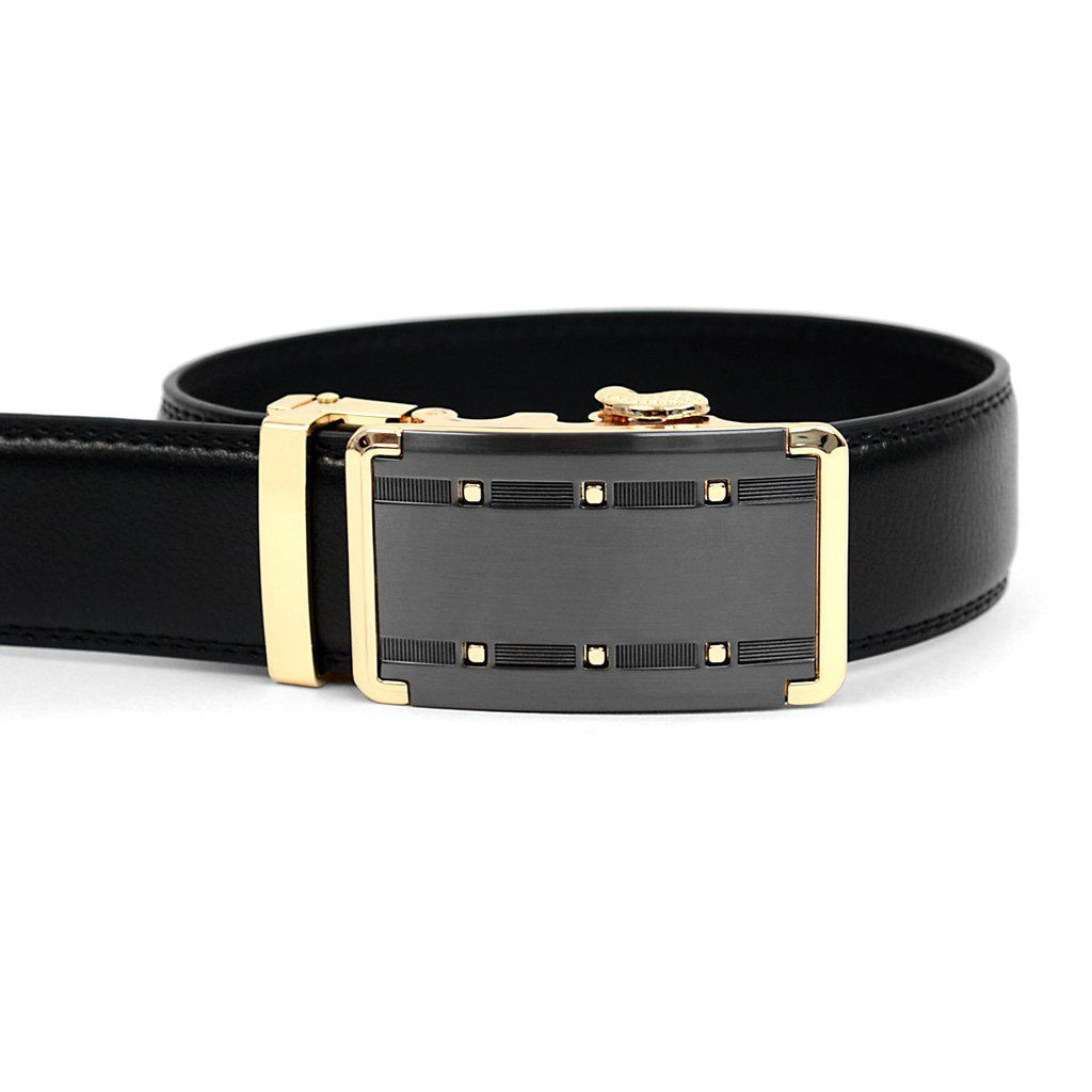 Daily Steals-Men's Genuine Leather Sliding Buckle Ratchet- Quality Style-Accessories-Black-
