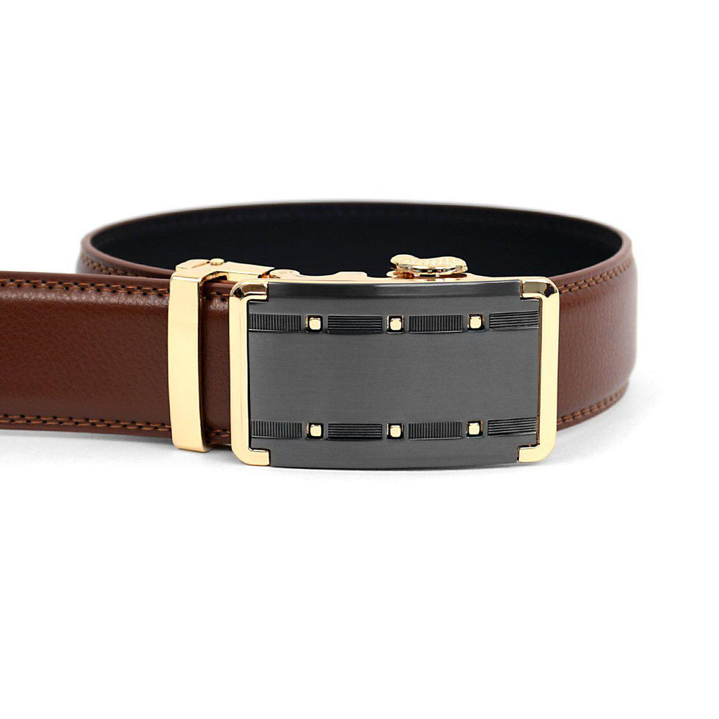Men's Genuine Leather Sliding Buckle Ratchet- Quality Style-Brown-Daily Steals