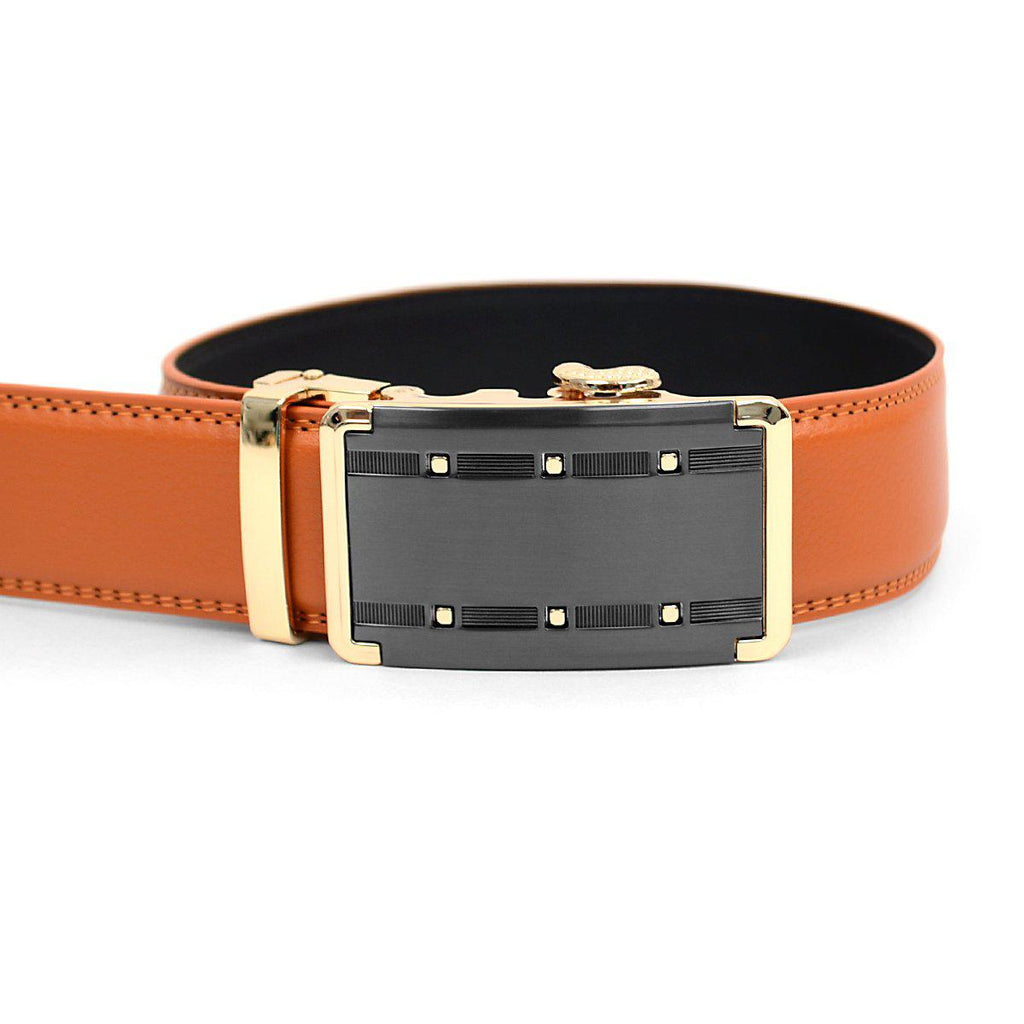 Men's Genuine Leather Sliding Buckle Ratchet- Quality Style-Orange-Daily Steals