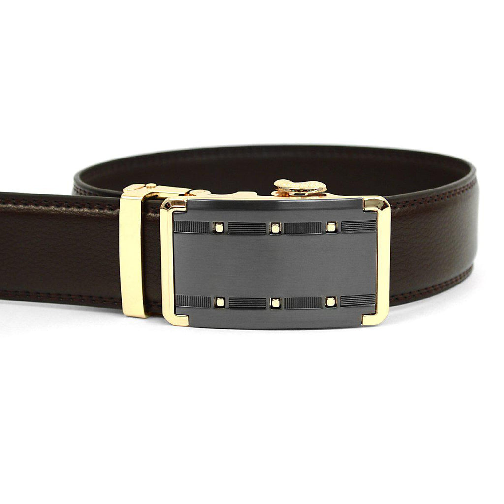 Daily Steals-Men's Genuine Leather Sliding Buckle Ratchet- Quality Style-Accessories-Dark Brown-