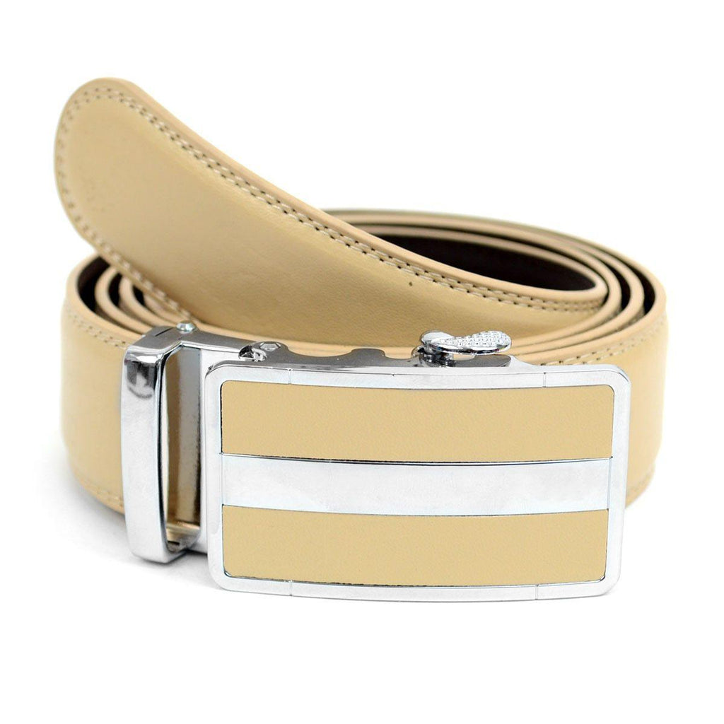Cut-To-Adjust-Size Men's Genuine Leather Sliding Buckle Ratchet Belt-Khaki-Daily Steals