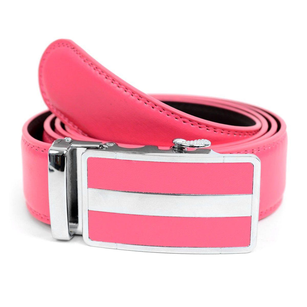 Cut-To-Adjust-Size Men's Genuine Leather Sliding Buckle Ratchet Belt-Pink-Daily Steals