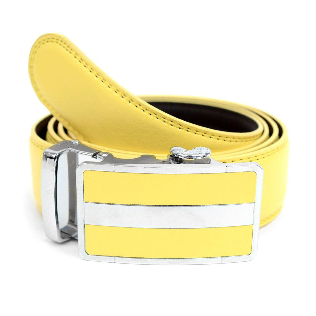 Cut-To-Adjust-Size Men's Genuine Leather Sliding Buckle Ratchet Belt-Yellow-Daily Steals