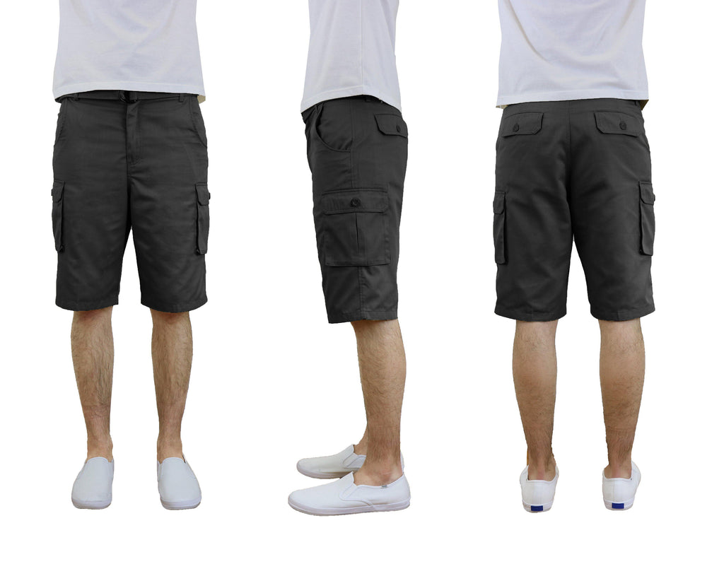 Men's Cotton Twill Cargo Shorts With Belt-Black-30-Daily Steals